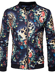 cheap -Men's Casual/Daily Simple Winter Fall Jacket,Leopard Floral Print Stand Long Sleeve Regular Cotton Polyester