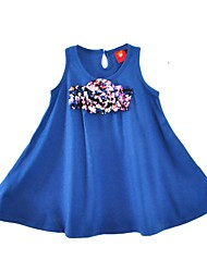 cheap -Girl's Daily Solid Dress,Cotton Summer Sleeveless Casual Active Blue