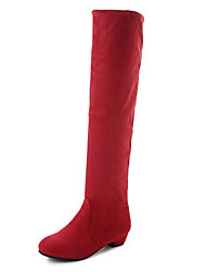 cheap -Women's Shoes Fleece Winter Fall Fashion Boots Boots Flat Heel Round Toe Over The Knee Boots for Casual Outdoor Blue Red Brown Gray Black