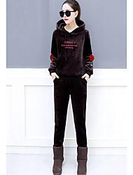 レディース お出かけ カジュアル/普段着 冬 秋 パーカー パンツ スーツ,活発的 フード付き ソリッド ポリエステル 長袖