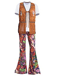 cheap -Hippie Costume Men's Corset Costume Outfits Brown Vintage Cosplay Spandex Short Sleeves T-shirt Briefs