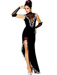 economico -Vintage Gitana Costume Per donna Vestito da Serata Elegante Stile Carnevale di Venezia Nero Vintage Cosplay Senza maniche Senza maniche