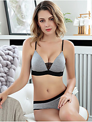 cheap -Women's 3/4 Cup Bras & Panties Sets Push-up Wireless,Cotton Rayon Gray Black