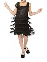abordables -Gatsby le magnifique Rétro Années 20 Costume Femme Robe de cocktail Robe à clapet Costume de Soirée Noir Vintage Cosplay Polyester Sans