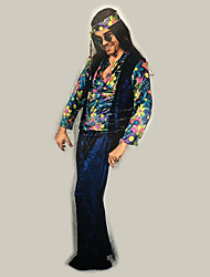 abordables -Hippie Disfraz Hombre Blusa / Falda Pantalones Azul Piscina Azul Tinta Cosecha Cosplay Manga Larga Campana Slips