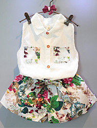 cheap -Girls' Print Clothing Set,Cotton Polyester Summer Sleeveless Casual White