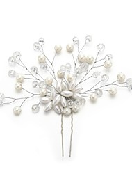 billige -Krystal / Imiteret Perle / Legering Hair Pin med Krystal / Imiterede Perler 1pc Bryllup / Speciel Lejlighed Medaljon