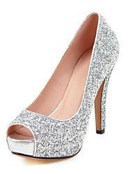 preiswerte -Damen Schuhe Glanz Frühling Sommer Herbst High Heels Stöckelabsatz Peep Toe Paillette Für Hochzeit Normal Party & Festivität Gold Weiß