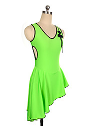 cheap -Figure Skating Dress Women's Girls' Ice Skating Dress Green Spandex Inelastic Performance Practise Skating Wear Solid Sleeveless Ice