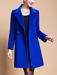 cheap -Women's Daily Going out Street chic Winter Spring Plus Size Long Coat, Solid Peaked Lapel Wool Polyester Oversized