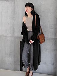 Damer Simple I-byen-tøj Normal Cardigan Ensfarvet,Rund hals Langærmet Polyester Forår Solid Elastisk