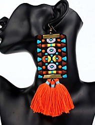 cheap -Women's Tassel / Chandelier / Long Drop Earrings - Bohemian, Ethnic, Boho Orange / Red / Green For Party / Oversized