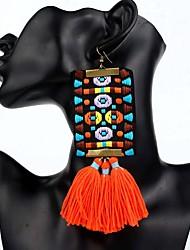 abordables -Mujer Borla / Lámparas Araña / Largo Pendientes colgantes - Bohemio, Étnico, Boho Naranja / Rojo / Verde Para Fiesta / De Gran Tamaño