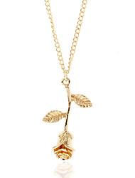 baratos -Mulheres Gargantilhas / Colares com Pendentes - Floco de Neve Simples, Fashion Dourado, Prata, Ouro Rose Colar 1 Para Rua, Bandagem