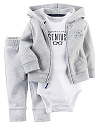 cheap -Baby Boys' Daily Going out Solid Clothing Set, Cotton All Seasons Simple Casual Long Sleeves Gray