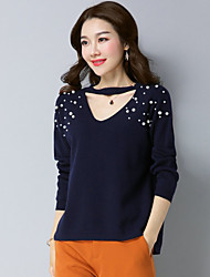 cheap -Women's Casual/Daily Simple Short Pullover,Solid V Neck Long Sleeve Wool Blend Winter Fall Thin strenchy