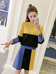 cheap -Women's Going out Casual/Daily Simple Active Spring Fall Sweater Skirt Suits,Color Block Round Neck 3/4 Sleeve Knitting Acrylic Polyester
