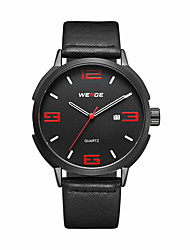 cheap -Men's Casual Watch Fashion Watch Dress Watch Japanese Quartz Calendar / date / day Large Dial Leather Band Casual Elegant Cool Black
