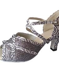 preiswerte -Damen Latin Glanz Sandalen Innen Maßgefertigter Absatz Grau / Maßfertigung