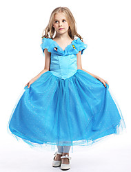 cheap -Princess Cinderella Fairytale Dress Party Costume Kid's Christmas Masquerade Birthday Festival / Holiday Halloween Costumes Blue Solid
