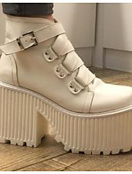 preiswerte -Damen Schuhe Leder Frühling Herbst Modische Stiefel Stiefel Plattform Runde Zehe Mittelhohe Stiefel für Normal Draussen Weiß Schwarz