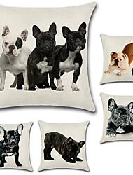 Недорогие -набор из 5 человек 3d французский бульдог узор подушка покрытие хлопок / белье собака подушка случае квадратный диван подушка покрытие