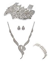 cheap -Women's Rhinestone Imitation Diamond Jewelry Set Body Jewelry 1 Necklace 1 Ring Earrings - Fashion European Fox Hair Combs Bridal Jewelry