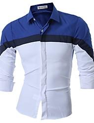 billige Nyheter-Bomull Solid Langt Erme,Skjortekrage Skjorte Fargeblokk Vår Fritid Daglig Herre