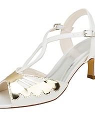 preiswerte -Damen Schuhe Stretch - Satin Sommer Pumps Hochzeit Schuhe Niedriger Heel Peep Toe Schnalle für Kleid Party & Festivität Elfenbein
