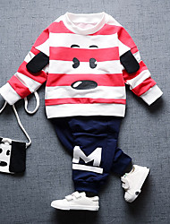 cheap -Boys' Daily Going out Striped Cartoon Clothing Set,Cotton All Seasons Long Sleeve Cute Casual Active Red