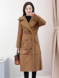 cheap -Women's Daily Going out Street chic Winter Fall Coat,Solid Shirt Collar Long Sleeve Long Polyester Oversized