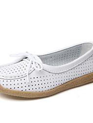 preiswerte -Damen Schuhe PU Frühling Herbst Komfort Loafers & Slip-Ons Flacher Absatz Geschlossene Spitze für Draussen Weiß Orange Gelb Rosa