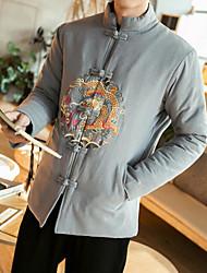Pánské Jednobarevné Denní nošení Vintage Bunda-Zima Bavlna Akryl Jiné Kulatý Dlouhý rukáv Standardní