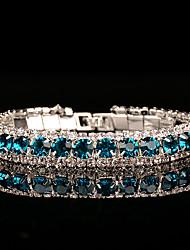 cheap -Women's Cubic Zirconia Synthetic Sapphire Rhinestone Chain Bracelet - Vintage Elegant Circle Blue Bracelet For Wedding Evening Party