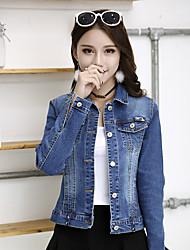abordables -Veste en jean Normal Femme, Couleur Pleine Quotidien Rétro Hiver Automne Col de Chemise Coton