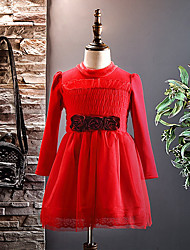 cheap -Girl's Christmas Going out Solid Dress,Cotton Polyester Winter Fall Long Sleeves Active Red Blushing Pink Purple