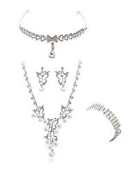 abordables -Femme Strass Imitation Diamant Papillon Ensemble de bijoux Bijoux de Corps / 1 Collier / 1 Bague - Mode / Européen Blanc Nuptiales