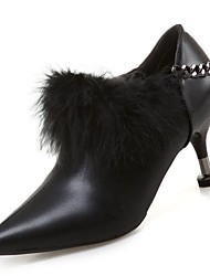 preiswerte -Damen Schuhe PU Winter Komfort High Heels Null Stöckelabsatz Spitze Zehe Null Feder für Normal Schwarz Braun