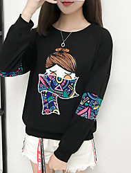 cheap -Women's Petite Daily Street chic Hoodie & Sweatshirt Print Round Neck Necklace Not Included Micro-elastic Polyester Long Sleeve