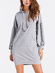 cheap -Women's Daily Sports Casual Street chic Loose Dress,Solid Hooded Above Knee Long Sleeve Polyester All Season Mid Rise Micro-elastic Thin