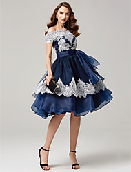 cheap -Ball Gown Off-the-shoulder Tea Length Chiffon Lace Formal Evening Dress with Bow(s) Lace Sash / Ribbon by TS Couture®