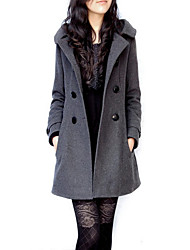 cheap -Women's Daily Vintage Winter Fall Coat,Solid Hooded Long Sleeve Long Polyester Oversized