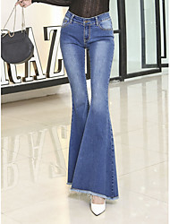 cheap -Women's High Rise Micro-elastic Jeans Pants,Vintage Casual Solid Cotton Polyester All Seasons