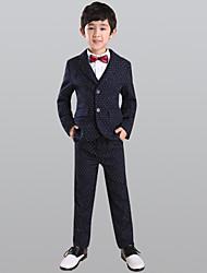 abordables -Marine foncé 100% Coton Costume de Porteur d'Alliance  - 5 Comprend Veste Gilet Chemise Pantalon Noeud Papillon