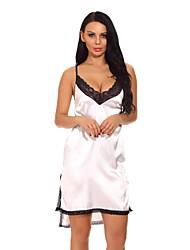 cheap -Women's Ultra Sexy Nightwear,V-neck Color Block-Thin Polyester Wine Black White Blue