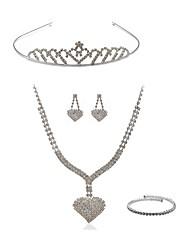 baratos -Mulheres Gema Imitações de Diamante Conjunto de jóias Jóias para o Corpo / 1 Colar / Brincos - Fashion / Europeu Branco Tiaras / Sets