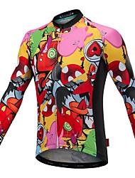 cheap -Malciklo Long Sleeve Cycling Jersey with Bib Tights - Orange Cartoon Bike Jersey, Quick Dry, Anatomic Design, Reflective Strips Lycra / Stretchy / High Elasticity