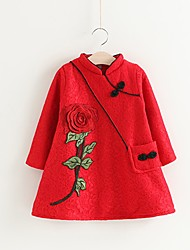 cheap -Girl's Christmas Solid Embroidery Dress,Cotton Polyester Winter Fall Long Sleeves Chinoiserie Red