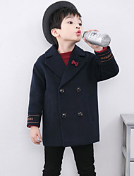 cheap -Boys' Solid Jacket & Coat,Cotton Long Sleeves Navy Blue