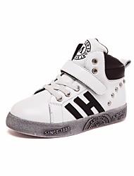 Para Meninos sapatos Pele Primavera Outono Coturnos Botas Botas Curtas / Ankle para Casual Branco Preto Prata